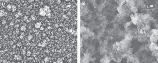 SEM images of carbon films deposited in Ar at 30 Pa (a) and 300 Pa (b).