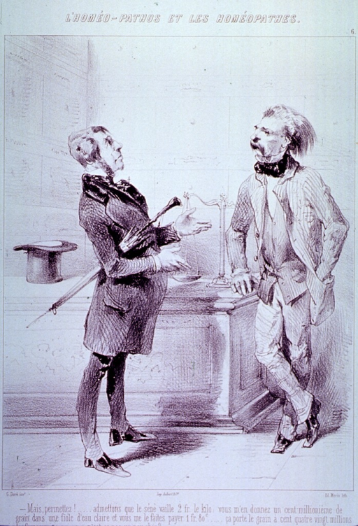 <p>Two men are standing at a counter; one man is leaning on the counter on which sits a scale; the other man is gesturing with his hands, he holds an umbrella under his arm and his top hat sits on the counter.</p>