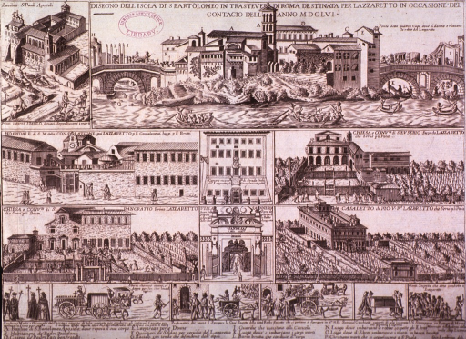 <p>Vignettes of Rome during the plague of 1656: eight views are of buildings used as plague hospitals, and six views show fumigation activities, as well as funerals and processions resulting from the plague; each is identified by caption.</p>