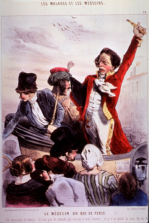 <p>A quack physician is standing in a carriage ranting and raving before a small crowd; his left arm is raised and his hat is under his right arm; two other persons are sitting in the carriage.</p>