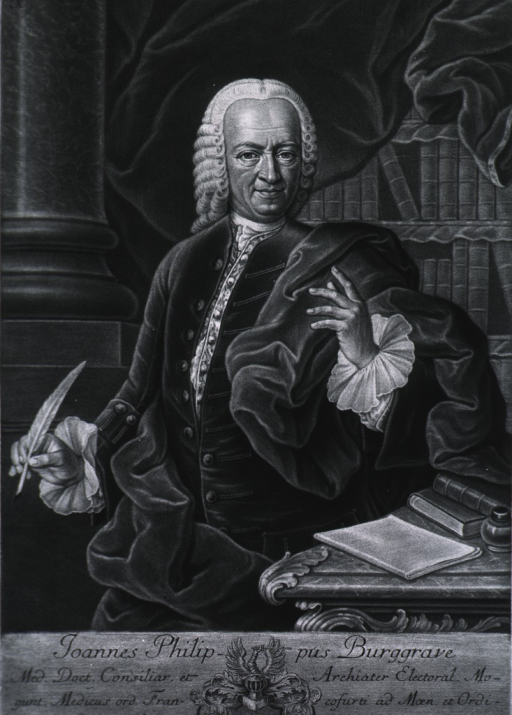 <p>Three-quarter length, standing, left pose, one hand holding quill pen.  Curtain and books in background.  Coat-of-arms.  Latin inscription.</p>