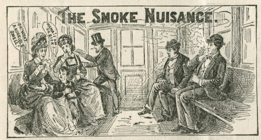 <p>Interior view of a trolley or train car, a man is smoking which is causing considerable discomfort among the other passengers, particularly for two women and a young boy; a gentleman is opening a window at the end of the car.</p>
