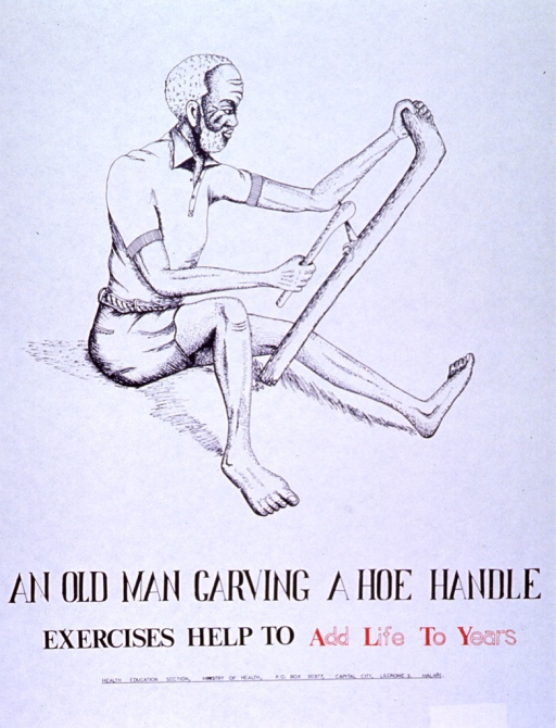 <p>White poster with black and red lettering.  Top of poster features a line drawing of an old man, seated on the ground and carving a hoe handle with a small axe.  Title and publisher information below drawing.</p>