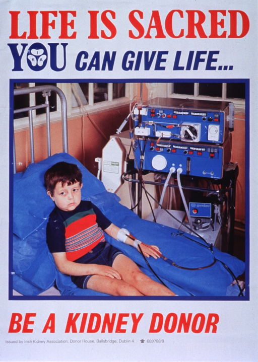 <p>Multicolor poster.  Title at top of poster.  Visual image is a color photo reproduction featuring a school-age boy resting in a hospital bed while receiving dialysis.  The dialysis machine is at the boy's bedside.  Caption below photo.  Publisher information at bottom of poster.</p>