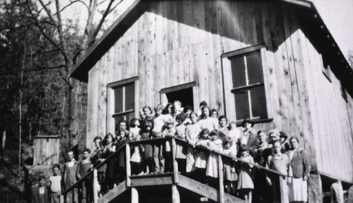 <p>Showing adults and children lined up on the steps leading to the schoolhouse in Rowan County, Kentucky.</p>