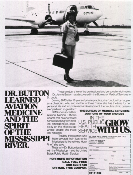 <p>Advertisement to attract physicians to rural communities through the Bureau of Medical Services; visual motif: a woman wearing a uniform stands on an airport runway, she is holding a black bag, and there is an airplane in the background.</p>