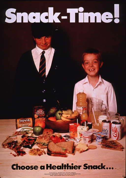 <p>Multicolor poster with white and black lettering.  Title at top of poster.  Visual image is a color photo reproduction featuring two school-aged boys standing behind an array of whole grains, nuts, fruits, yogurt, and juice.  Caption and publisher information at bottom of poster.</p>