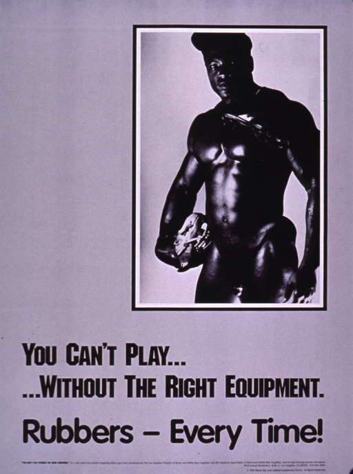 <p>Black and white poster with the photo reproduction of a man wearing only a baseball cap and holding a baseball glove in one hand. Title, text, and publishing information on the bottom portion of the poster.</p>