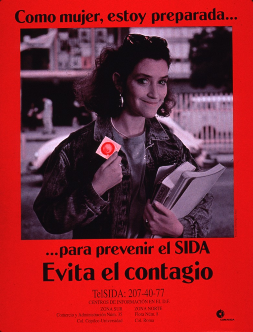 <p>Predominantly red poster with black lettering.  Initial title phrase at top of poster.  Visual image is a pink-tone photo reproduction featuring a young woman standing outdoors, with a street scene in the backgroung.  She holds textbooks in one hand and holds up a condom with the other.  Remaining title phrase and caption below photo.  Caption urges avoiding illness.  Hotline numbers below caption.  Publisher information in lower right corner.</p>