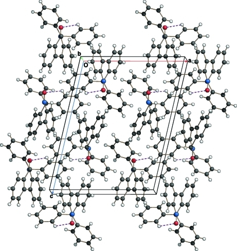 Crystal packing of the title compound viewed approximately along the b axis. Intramolecular C—H···O hydrogen bonds are shown as dashed lines.