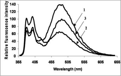 Fluorescence spectra of 5′-bispyrene alone (1), 5′- bispyrene and target (2), and 5′-bispyren, target and 3′- naphthalene (3) in 0% TFE/ Tris buffer (0.01 M Tris, 0.1 M NaCl, pH 8.4) at 5°C. Component concentrations were 2.5 µM in a total volume of 100 µL. Excitation was at 350 nm, spectra are corrected for TFE and buffer.