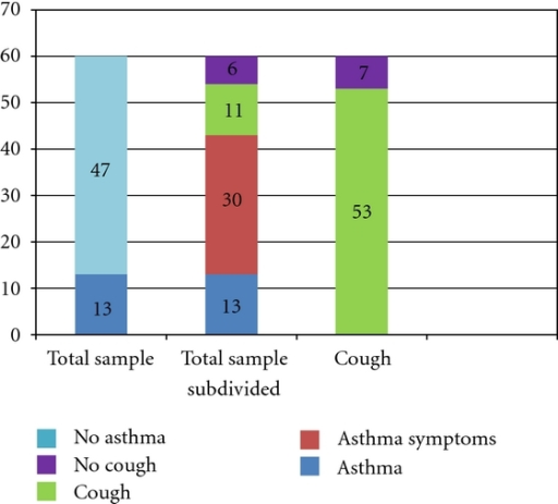 Total sample and subgroups. Total sample: 60 subjects, 13 report asthma, 47 do not. Total sample subdivided: 13 report asthma, Remainder 47: 30 have cough and other asthma symptoms, 11 have cough only, and 6 have no cough or other asthma symptoms. Cough: 53/60 subjects had cough.
