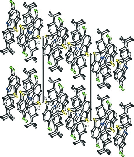 The crystal packing of the title compound viewing along b axis [H atoms have been omitted for clarity].