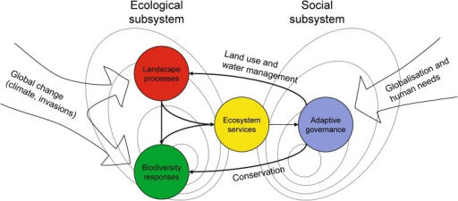 Conceptual model of the scientific themes which are the bases for the Ekoklim research program and this Special Issue