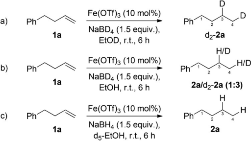 Deuterium labelling studies for the investigation of the mechanism of iron-catalysed, NaBH4 mediated, alkene reduction.