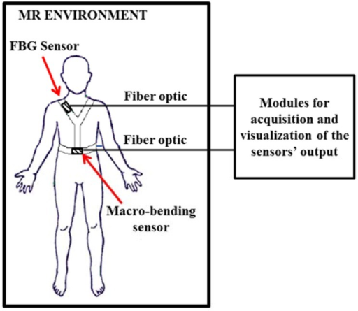 Schematic representation of the monitoring systems proposed by and developed in the optical fiber sensors embedded into technical textile for healthcare (OFSETH) project.