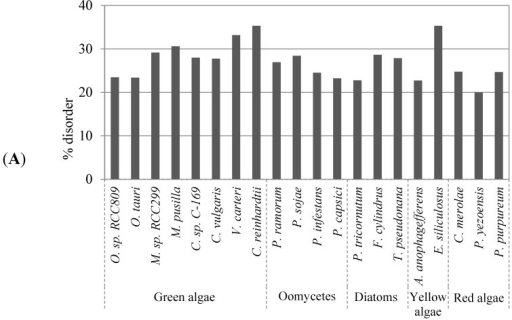 Evaluation of global protein disorder in algae proteomes. (A) Predicted disordered protein content in the studied algae proteomes computed with DISOPRED; (B) Results of a pairwise correlation analysis between the disorder content and the total number of amino acids in a proteome.