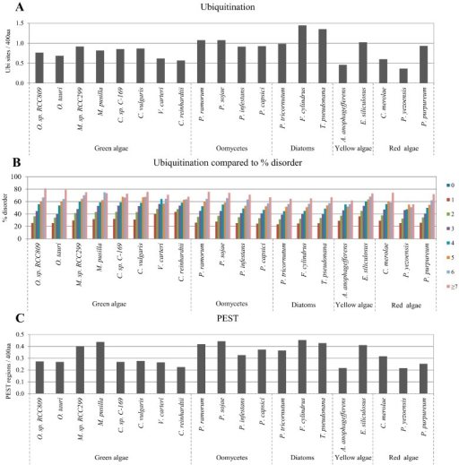 Correlation between disordered protein content and ubiquitination sites or PEST regions. Normalized predicted ubiquitination sites and PEST regions per 400 amino acids in the studied algae proteomes are presented in (A,C), respectively; Relative percentage of disordered protein content with different numbers of predicted sites of ubiquitination and predicted regions of PEST are presented in (B,D), respectively.