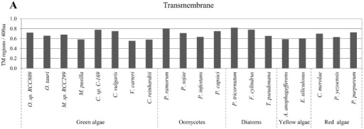 Correlation between disordered protein content and transmembrane regions. Normalized predicted transmembrane helices per 400 amino acids in the studied algae proteomes are presented in (A); Relative percentage of disordered protein content with different numbers of predicted transmembrane helices are presented in (B).