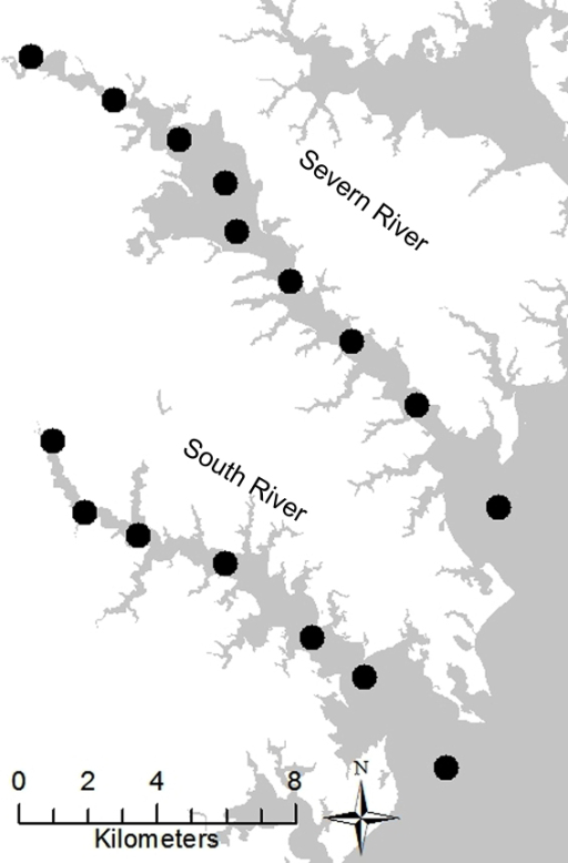 Sample locations in the Severn and South Rivers, MD.