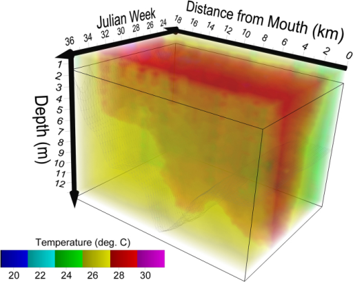Spatiotemporal model of temperature in the Severn River 2010.