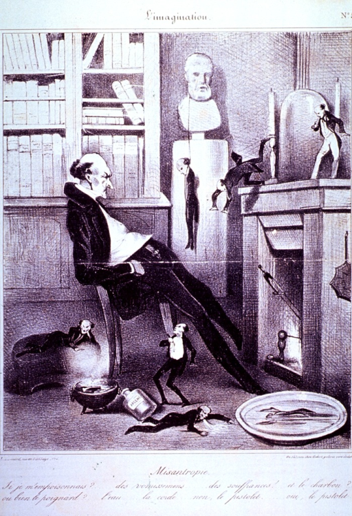 <p>Interior view: A man sits before a fireplace envisioning the various methods of suicide.</p>