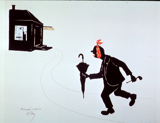 <p>Silhouette:  A man with a toothache hurrying to the dentist's office, shown in the distance.</p>