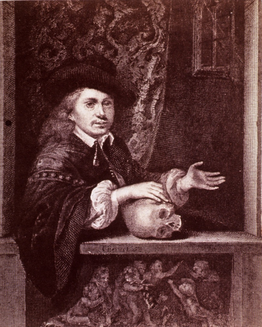 <p>A young man is seated by a window with his hand resting on a skull.</p>