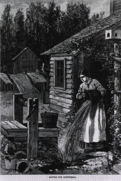 <p>Sowing for diptheria [woman throws bucket of slops out her door, beside a well].</p>