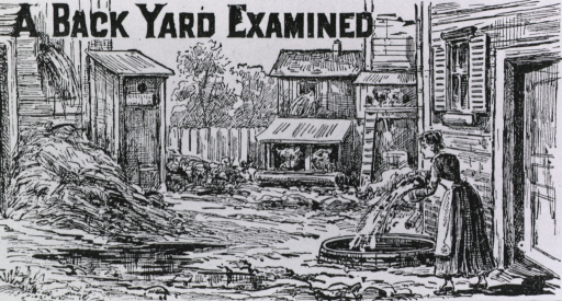 <p>Exterior view: a woman is discarding the contents of a pan onto the ground outside the backdoor of a building; an outhouse stands next to a pile of hay; in the background is a pig sty and a chicken coop.</p>