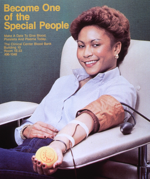 <p>Poster is a color photo image with gold lettering.  Poster shows a woman wearing a blue and white striped button-down shirt and jeans donating blood.  Woman has a yellow tennis ball with red design in her hand, tubing stretching down her forearm, and a blood pressure cuff on her upper arm.  Poster lists location and contact number for Clinical Center Blood Bank.</p>