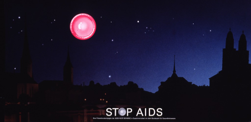 <p>Multicolor poster with white lettering.  Poster is predominantly a reproduction of a color photo of the Zurich skyline at night.  Skyline is dominated by church spires.  An illustration of a fresh, pink condom is superimposed on the photo, as if to represent the moon.  Title and note at bottom of poster.  The &quot;o&quot; in stop is represented by a fresh condom.</p>