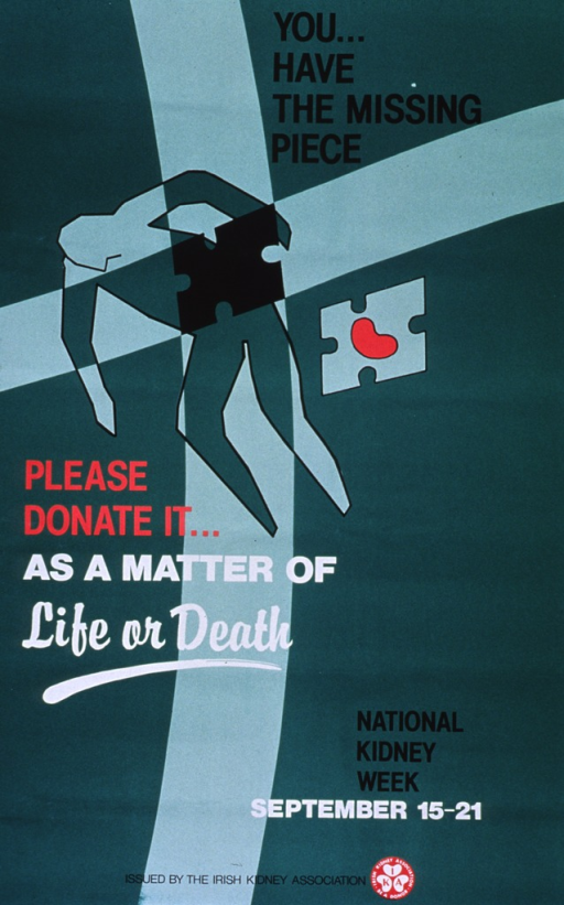 <p>Predominantly green poster with multicolor lettering.  Title near upper right corner.  Visual image is an outline of a human figure with a large, puzzle-shaped chunk missing from its mid-section.  A corresponding puzzle piece bearing an illustration of a kidney is near the figure.  Caption below figure.  Note near lower right corner.  Publisher information at bottom of poster.</p>