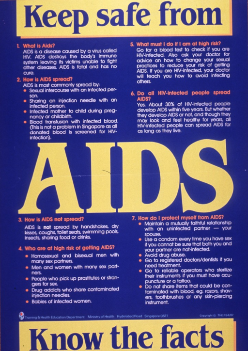 <p>Predominantly bright blue poster with multicolor lettering.  Title dispersed throughout poster.  Poster is all text explaining AIDS, how it is transmitted, and how to prevent the disease.  Publisher information near bottom of poster.</p>