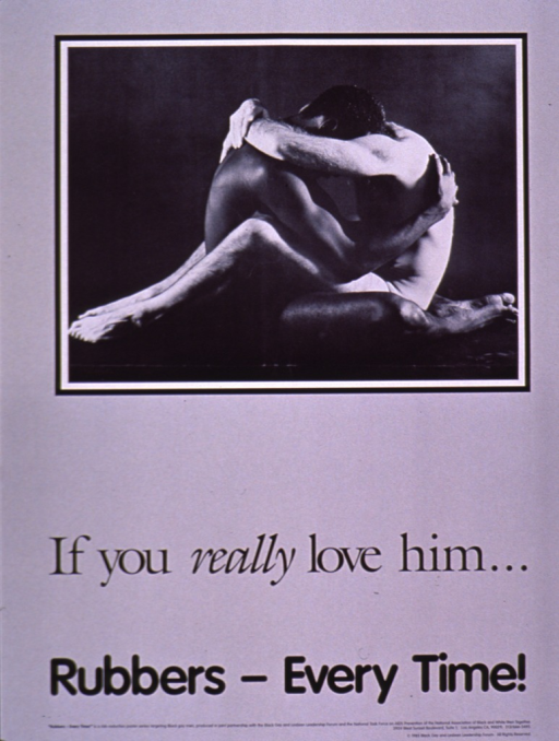 <p>Black, gray, and white poster with the title and publishing information at the bottom in black print. The visual consists of a photo reproduction of two men, one African American and one white, sitting on the floor facing each other and embracing each other.</p>