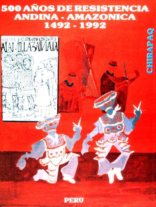 <p>Indigenous dancers are in the foreground.  Two men are playing musical instruments in the background.  An inset poster is promoting the fiesta de los dondesvios.</p>