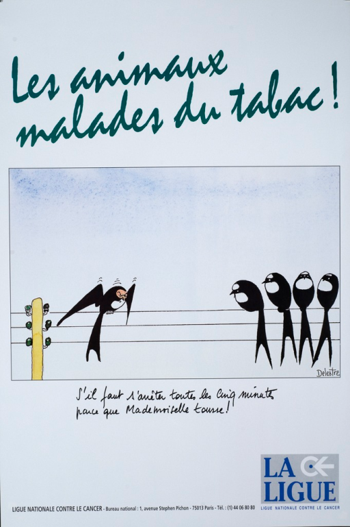 <p>Five black and white birds with long forked tails are sitting on a telephone wire.  Four are on the right in a group.  The remaining bird has a red face and is coughing.  The translated caption is: We have to stop every five minutes because Mademoiselle is coughing!</p>