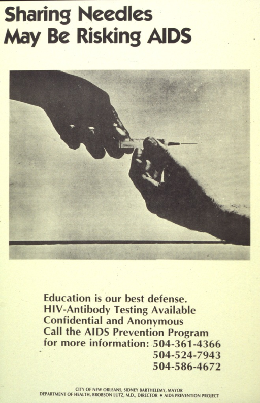 <p>Tan poster with a photo reproduction showing the hands of two people passing a syringe. The photo and print are in black.</p>