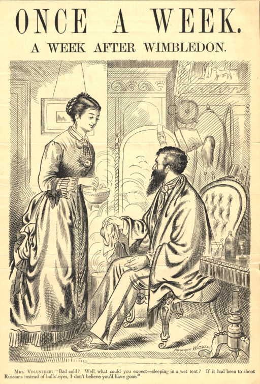 <p>A man and woman are shown in a Victorian-era drawing room.  The man sits in a chair and has a blanket wrapped around his shoulders.  He holds a handkerchief in one hand and looks through a monocle at the woman who stands before him stirring a bowl of hot food.  Behind them on the wall, hang the man's jacket and gun.  His plumed hat hangs on a mirror.  A bottle of &quot;cough mixture&quot; sits on a table next to the man.</p>