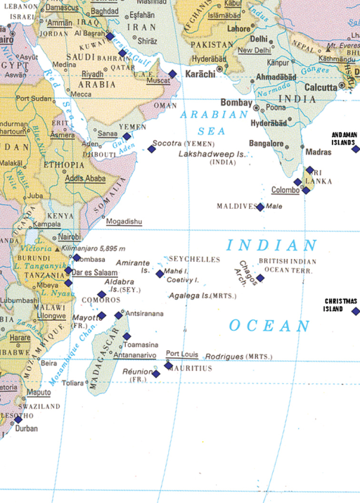 Map of the western half of the Indian Ocean showing collecting localities listed in text marked by blue squares; note the Andaman Islands and Christmas Island are off the map in reality.