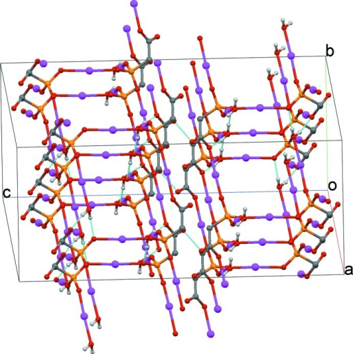 A view of O—H···O hydrogen bonds in the crystal structure. H atoms non-participating in hydrogen bonding and carbon atoms of the Sn- methyl group have been omitted for clarity.