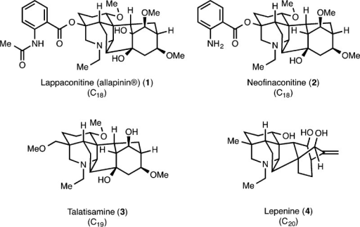 RepresentativeC18-, C19-, and C20-diterpenoid alkaloids.