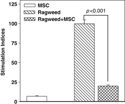 Proliferation of peripheral blood mononuclear cells (PBMCs) from allergic (ragweed) asthma, in the presence or absence of mesenchymal stem cells (MSCs). PBMCs from subjects with allergy to ragweed and asthma (allergic asthma) were stimulated with ragweed (5 μl ml−1), in the presence or absence of MSCs. After 48 h, the cultures were assessed for proliferation by pulsing with tritiated thymidine. The incorporation of tritiated thymidine was detected with a scintillation counter. The proliferation for each experimental point is presented as stimulation index (SI), which was calculated as the disintegration per minute (d.p.m.) of the experimental point/d.p.m. of PBMCs alone. The results (mean±s.d.) are presented for four donors (Table 1: S18–S21). Each donor was studied in quadruplicates, with MSCs from a different donor.
