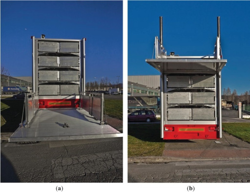 (a) Hydraulic lift elevator in the loading position. (b) Hydraulic lift elevator in the raised position.