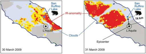 Infrared anomaly seen from a satellite (infrared anomaly distribution adapted from [48]) over central Italy before the Abruzzo earthquake. The left image was taken on 30 March, the right one on 31 March (the quake happened on 6 April, 3.32 A.M.). The arrows in the figures indicate the site of animal (toad) observation and the epicentre respectively (the infrared absorbing clouds are also indicated).
