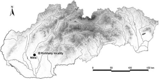 Map of investigated locality. The figure shows a location of investigated Kolíňany locality (GPS coordinates: N48°21′18.28″, E18°12′36.03″) which is situated near the Nitra city