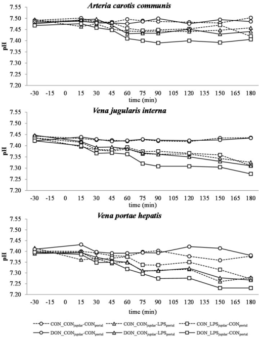 Effect of chronic enteral Fusarium toxin deoxynivalenol (DON) exposure and pre- or post-hepatic E. coli lipopolysaccharide (LPS) infusion on arterial, jugular or portal blood pH in pigs. Reference value: 7.42 in arterial blood [26]. Barrows were either fed a DON contaminated ration (4.59 mg/kg feed) or control feed during 29 days. Infusion groups were divided as follows: pre-hepatic LPS infusion (CON_CONjugular-LPSportal, n = 7 and DON_CONjugular-LPSportal, n = 6), post-hepatic LPS infusion (CON_LPSjugular-CONportal, n = 8 and DON_LPSjugular-CONportal, n = 6), and control infusion (CON_CONjugular-CONportal, n = 7 and DON_CONjugular-CONportal, n = 7). Infusion from time 0 until 60 min with 7.5 µg LPS/kg BW in 0.9% saline. Feed was offered during 15 min prior to infusion start. LSMeans. PSEM = 0.02. Significance: Group (G): p ≤ 0.001; Catheter (C): p ≤ 0.001; Time (T): p ≤ 0.001; G × C × T: p ≤ 0.001. Table illustrates differences between DON and CON fed post-hepatic LPS infused groups at different times. T = trend (p ≤ 0.10).