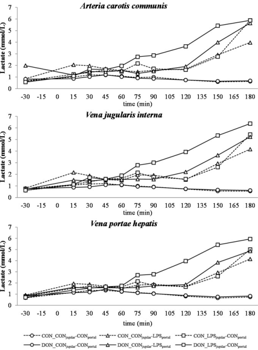 Effect of chronic enteral Fusarium toxin deoxynivalenol (DON) exposure and pre- or post-hepatic E. coli lipopolysaccharide (LPS) infusion on arterial, jugular or portal blood lactate in pigs. Reference: 0.84 ± 0.24 mmol/L in venous blood [28]. Barrows were either fed a DON contaminated ration (4.59 mg/kg feed) or control feed during 29 days. Infusion groups were divided as follows: pre-hepatic LPS infusion (CON_CONjugular-LPSportal, n = 7 and DON_CONjugular-LPSportal, n = 6), post-hepatic LPS infusion (CON_LPSjugular-CONportal, n = 8 and DON_LPSjugular-CONportal, n = 6), and control infusion (CON_CONjugular-CONportal, n = 7 and DON_CONjugular-CONportal, n = 7). Infusion from time 0 until 60 min with 7.5 µg LPS/kg BW in 0.9% saline. Feed was offered during 15 min prior to infusion start. LSMeans. PSEM = 0.56. Significance: Group (G): p ≤ 0.001; Catheter (C): p = 0.78; Time (T): p ≤ 0.001; G × C × T: p ≤ 0.001. Table illustrates differences between DON and CON fed post-hepatic LPS infused groups at different times. T = trend (p ≤ 0.10).