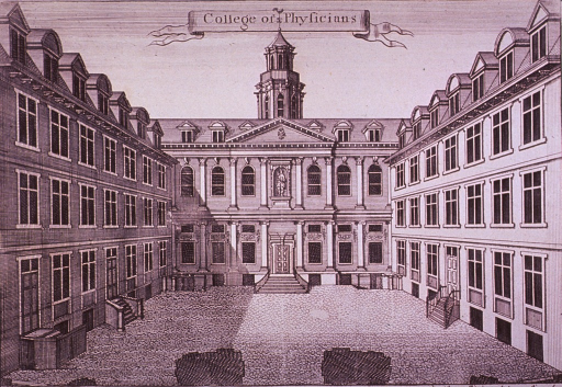 <p>Exterior view of building on three sides of a courtyard.</p>