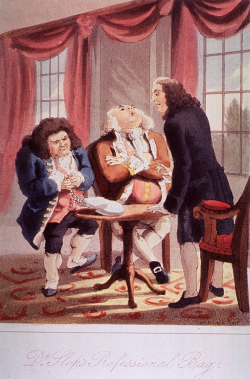 <p>Three medical men chatting together in a drawing room.</p>